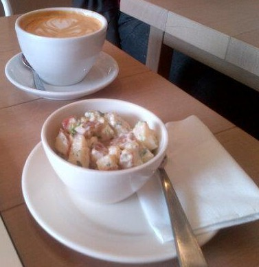Latte and potato salad at Phil and Sebastians in Marda Loop