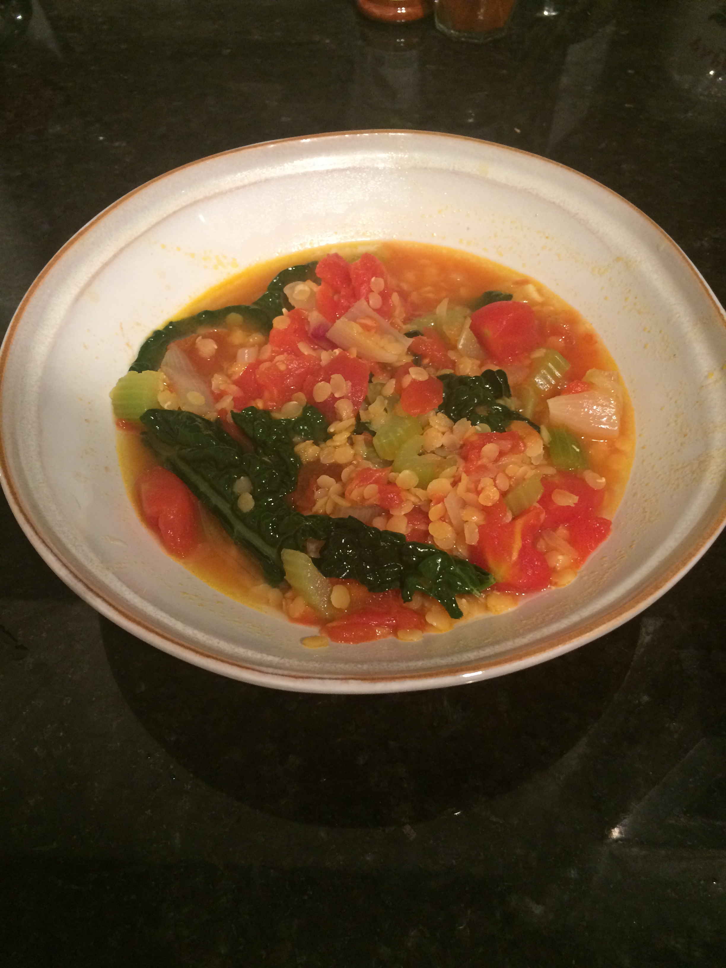 Spiced Red Lentil, Tomato, And Kale Soup Recipe — Dishmaps